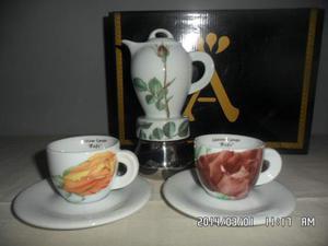 Caffettiera 2 tz.+ 2 tazze Ancap Fiori
