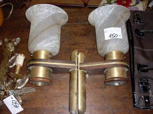 Lampade da parete in vetro soffiato legno e ottone