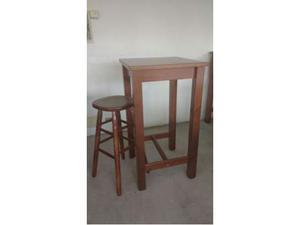 Set tavolo con sgabello tornito h.80