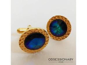 Gemelli rotondi cristallo blu dorati vintage torpedo