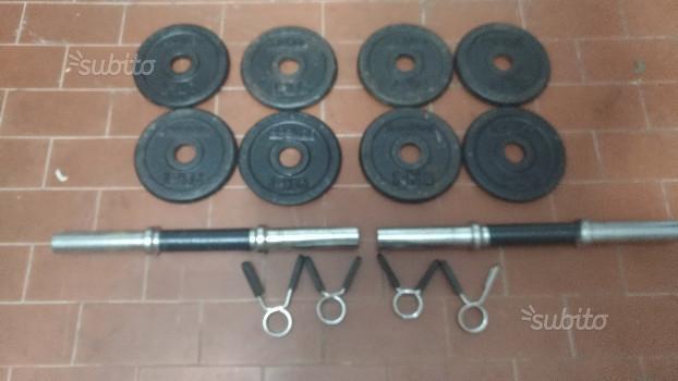 Dischi ghisa 8kg pesi palestra manubri 28mm