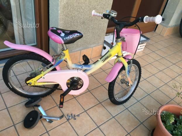 Bicicletta bambina con rotelle e ruote 16''