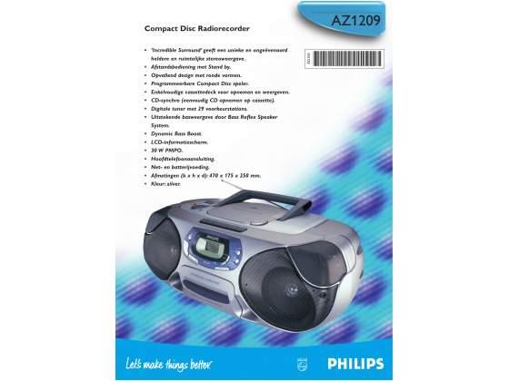 Philips AZ CD/AM-FM Radio Boombox w/Bass Boost