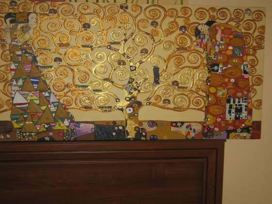 Albero della vita copia ad olio su tela con oro a rilievo.