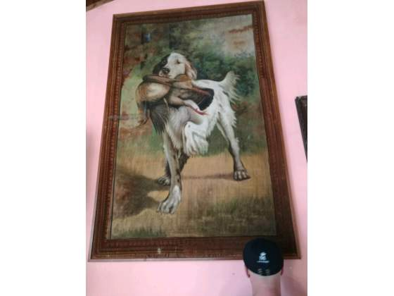 Grande arazzo dipinto cane da caccia