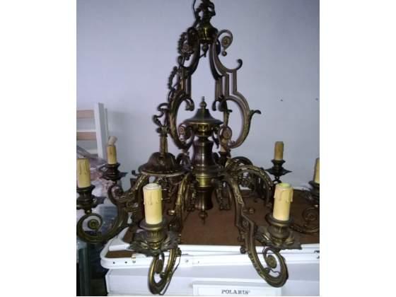 Lampadario antico ottone otto bracci