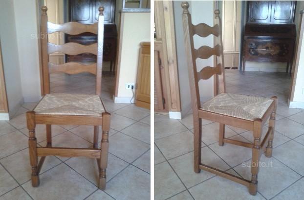4 Sedie soggiorno cucina legno massello impagliate