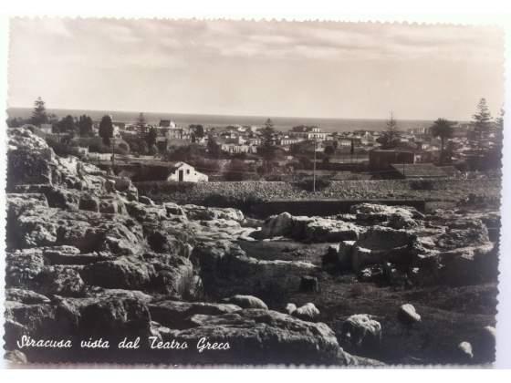 Antica Cartolina Siracusa Vista dal Teatro Greco Sicilia