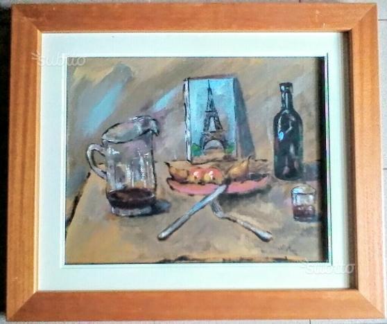 Dipinto ad olio su tela Radio anni 30