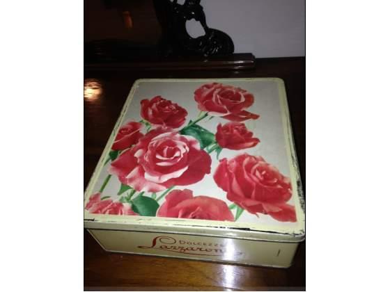"Scatola lazzaroni latta ""rose"" vintage originale"