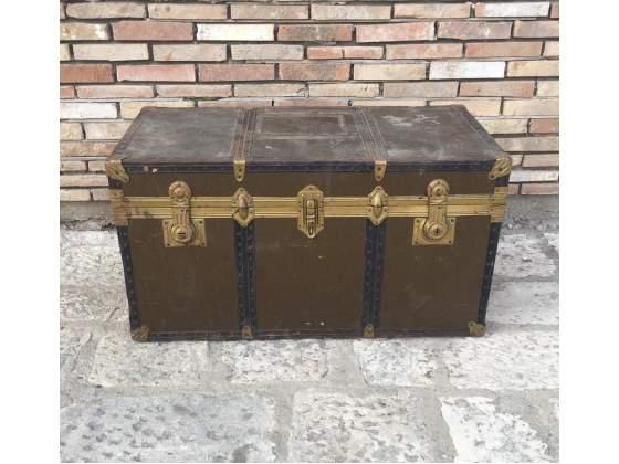 Antico baule da trasporto cassa cassapanca in legno e