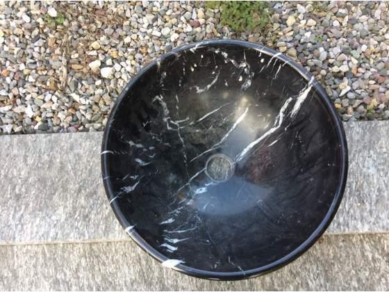 Lavello tondo,ciotola in marmo nero lucido