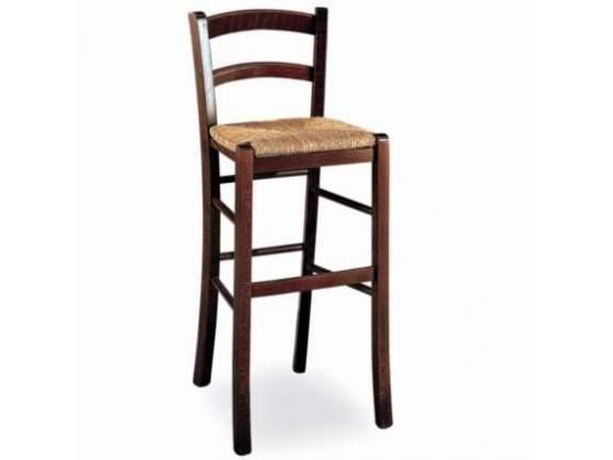 Sgabelli ristorante in legno e sedile in paglia