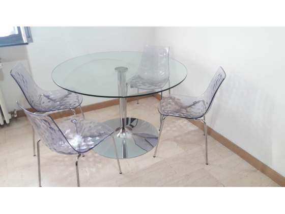 Tavolo Rotondo Cristallo Usato.Tavolo Rotondo Vetro Posot Class