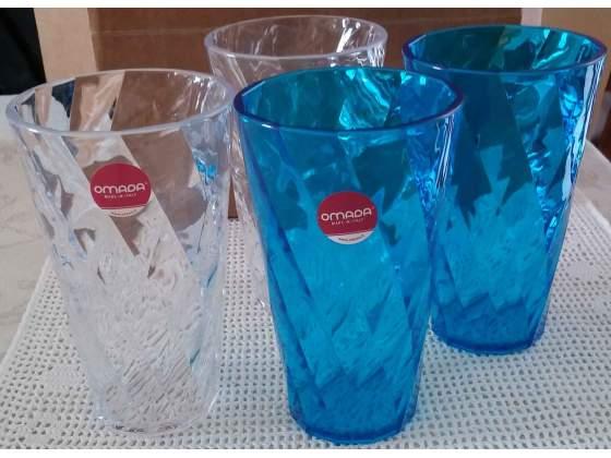 Set 4 bicchieri bibita impilabili in acrilico omada - nuovi