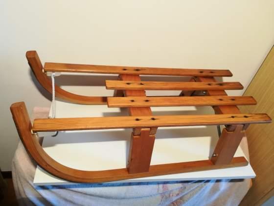 Slittino pieghevole vintage '70 legno massello neve