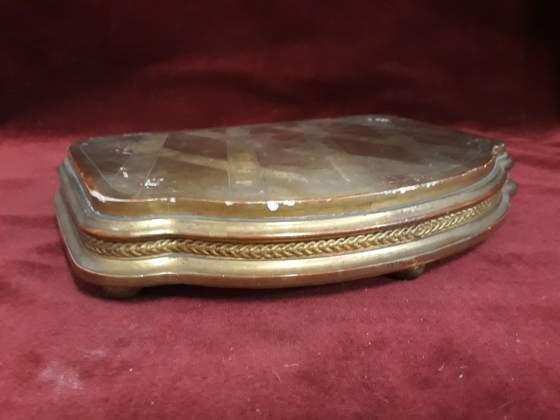 364 - antica base in legno dorato 31,5 x 20 cm