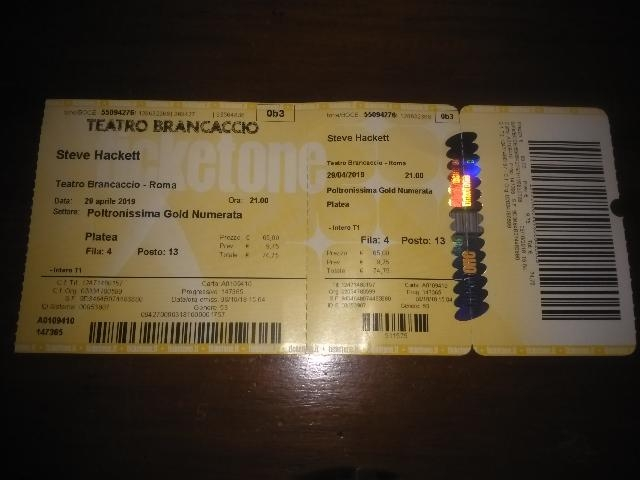 STEVE HACKETT BIGLIETTO ROMA 29 APRILE
