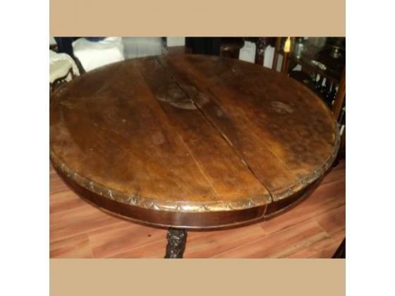 Tavolo rotondo antico in noce massello