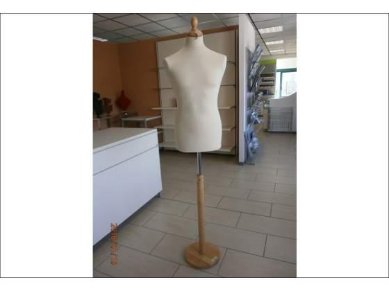 Busto sartoriale per uomo con base in legno