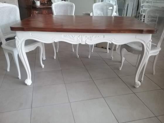 Tavolo shabby chic luigi xv in legno noce