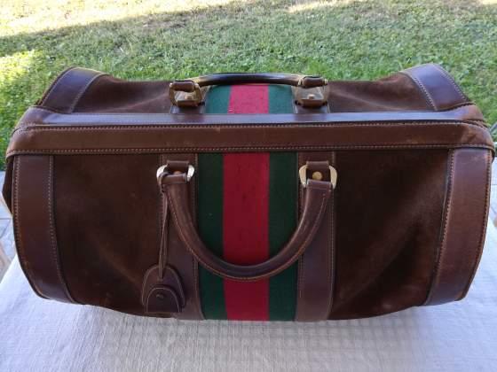 Gucci Vintage Borsone da Viaggio in Pelle