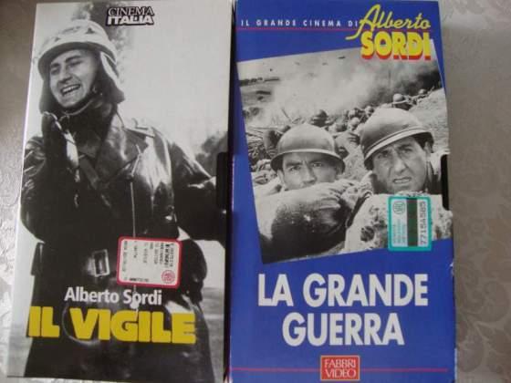 """Vhs A.Sordi n.2 """"la grande guerra"""" """"il vigile"""" originali"""