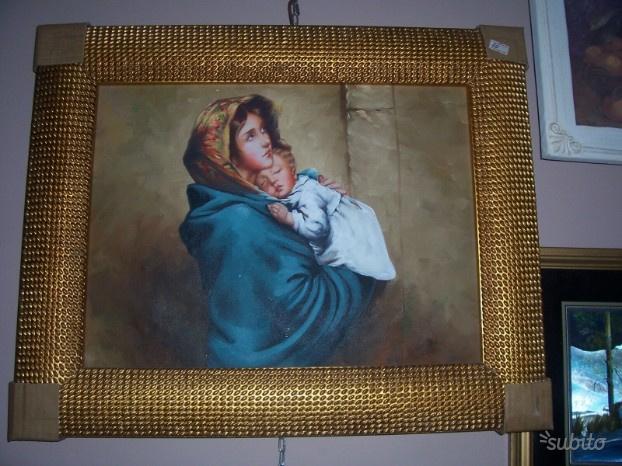 Capezzale dipinto su tela con cornice dorata