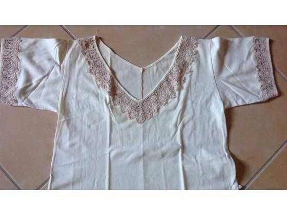 Camicia da notte in cotone mezza manica con pizzo tg. 44