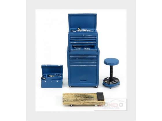 Accessories Set Officina Garage Tool Blue MOTORHEAD 1:18
