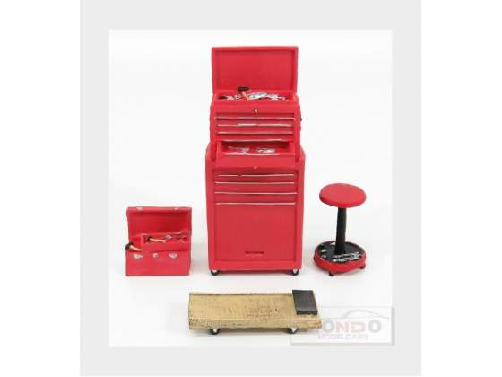 Accessories Set Officina Garage Tool Red MOTORHEAD 1:18