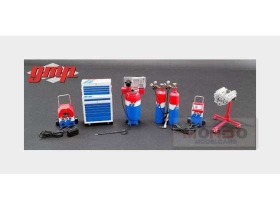 Accessories Set Officina Garage Tool Set Bre Red White Blue