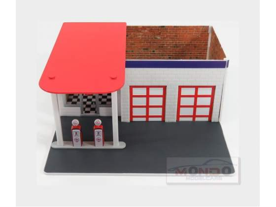 Diorama Set Officina Garage Gas Station Chevron