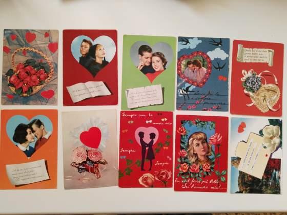 Lotto 10 cartoline innamorati inizio anni 60