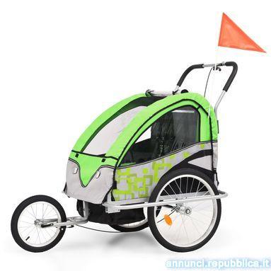 Rimorchio Bici per Bambini e Passeggino 2 in 1 Verde e