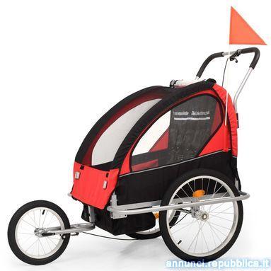Rimorchio da Bici per Bambini e Passeggino 2 in 1 Nero e