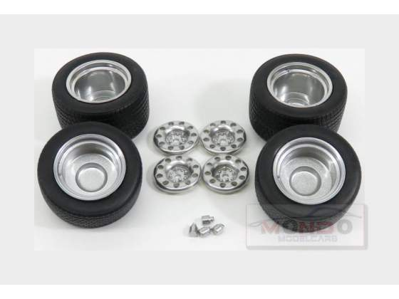 Set 4X Wheels Set 4 Ruote Tuning Silver Black NEOSCALE 1:43
