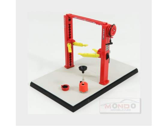 Set Officina Ponte Sollevatore Auto Twin Post Lift Red