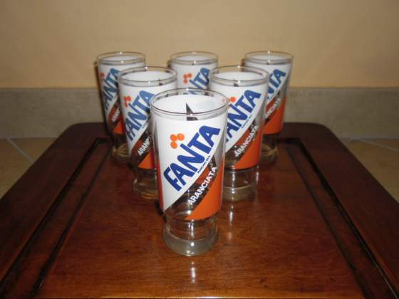 Set 6 bicchieri Aranciata Fanta vintage