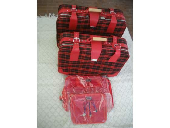 Set valigia vintage in tessuto scozzese anni '60