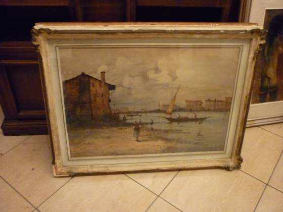 Lucio Carniel marina con figure 50 x 70