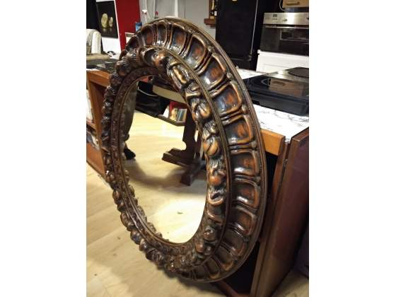Specchio antico forma ovale cornice in ottone posot class - Specchio ovale ikea ...