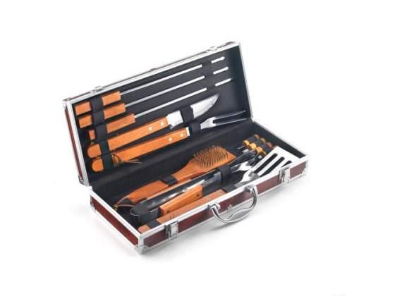 Set valigetta color radica da 12 pezzi in acciaio inox e