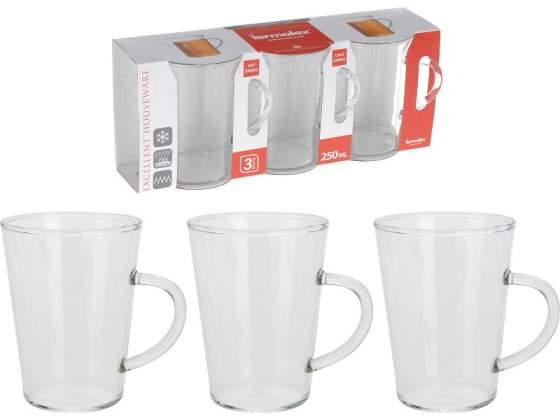3 tazze mug vetro 250ml
