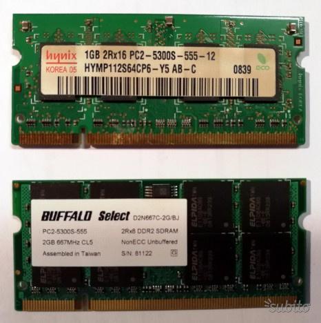 Memoria Ram per notebook