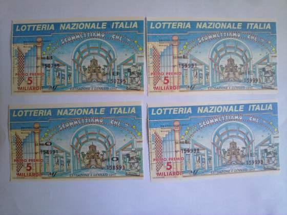 4 biglietti lotteria Italia - Estraz. 6 Gennaio