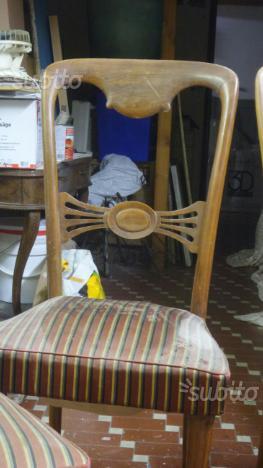 4 sedie in noce con piedi ottone