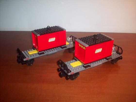 Lego treno merci 2 vagoni con 2 container -