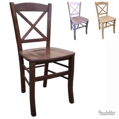Sedia CROCE legno massello seduta in legno arredo