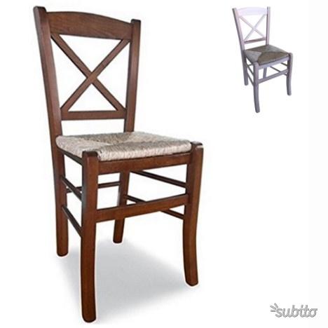 Sedia in legno e seduta in paglia schienale CROCE